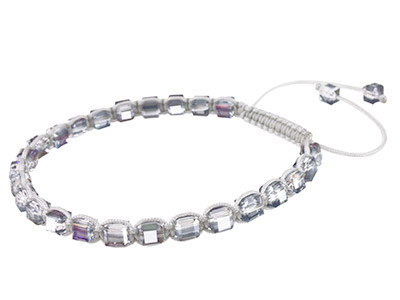Silver Square Crystal Friendship Adjustable Cord Bracelet