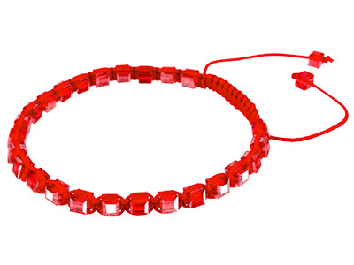 Red Square Crystal Friendsip Adjustable Cord Bracelet
