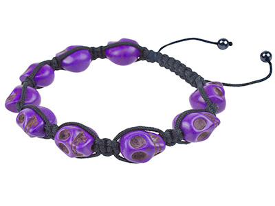 Shamballa Bracelet Purple Skull And Hematite