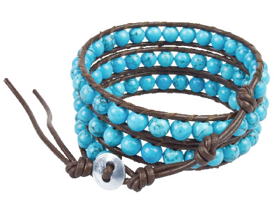 Turquoise And Leather Wrap Around Silver Bracelet, 51 To 56cm