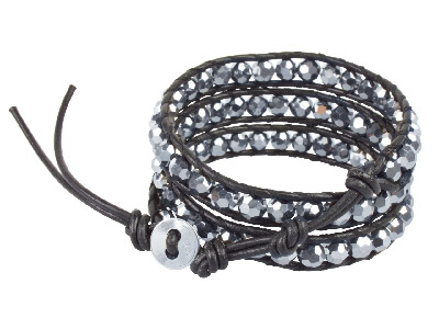 Metallic Silver Crystal And Leather Wrap Around Silver Bracelet, 51 To 56cm