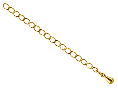 Gold Plated 2.75mm Extension Chain With Dropper, Small