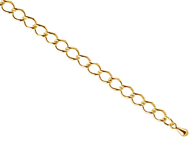 Gold Plated 4.5mm Extension Chain  With Dropper, Large