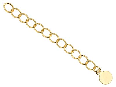 Gold Plated 4.5mm Fancy Extension   Chain 3.38.5cm With Round Dropper Pack of 5 Unhallmarked