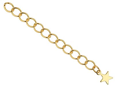 Gold Plated 4.5mm Fancy Extension  Chain 3.38.5cm With Star Dropper Pack of 5 Unhallmarked