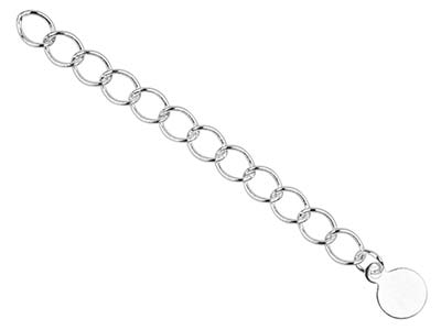 Silver Plated 4.5mm Fancy Extension Chain 3.38.5cm With Round         Dropperpk 5 Unhallmarked