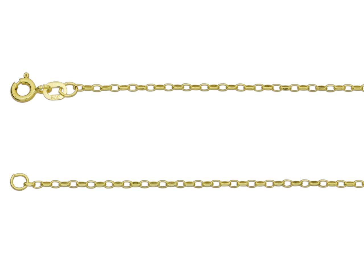 9ct Yellow Gold 1.7mm Diamond Cut  Belcher Chain 16