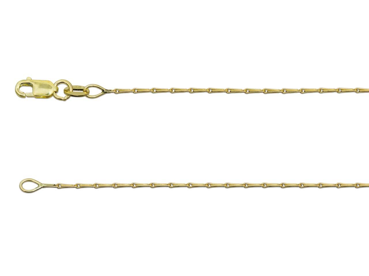 9ct Yellow Gold 1.2mm Barleycorn   Chain 16