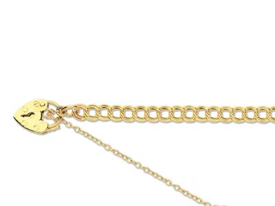 9ct Yellow 1699 Z Curb 7.50 Padlock  Safety Chain Hallmarked 11mm Padlock