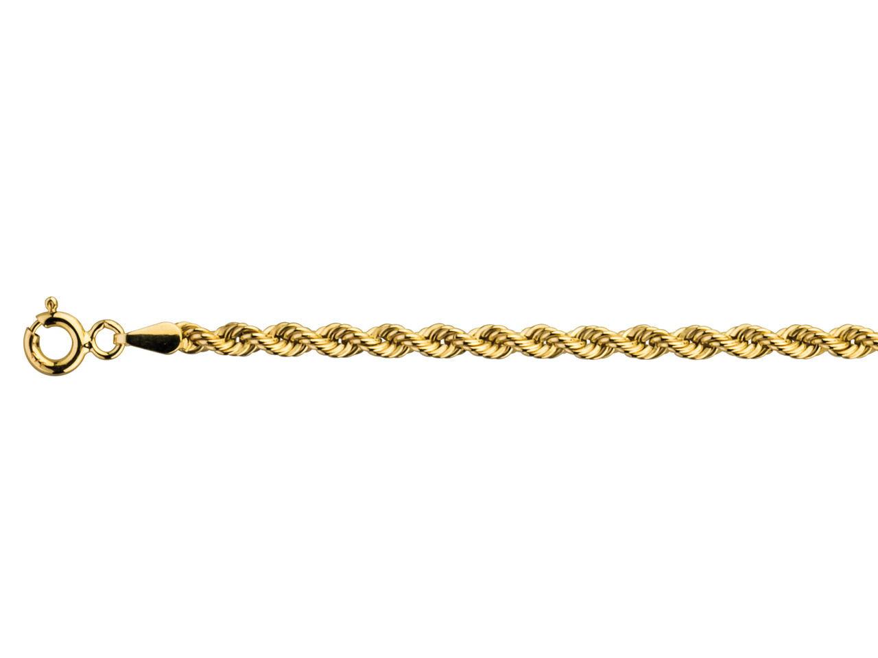 9ct Yellow Hollow Rope 2.7mm       16