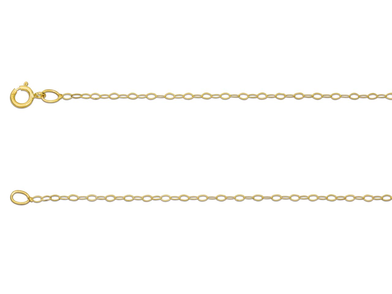 9ct Yellow Gold 1.2mm Trace Chain  18