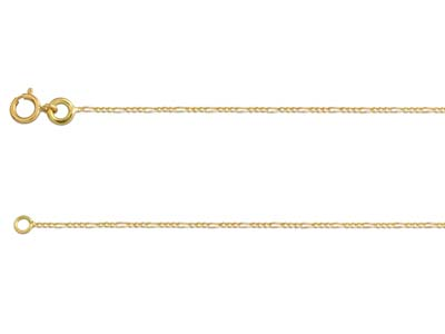 18ct Yellow Gold 0.8mm Diamond Cut Figaro Chain 1845cm Hallmarked