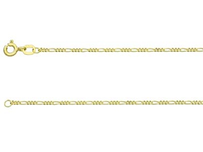 18ct Yellow Gold 1.3mm Diamond Cut Figaro Chain 1845cm Hallmarked