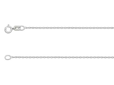 18ct White Gold 1.2mm Diamond Cut  Flat Cable Chain 1845cm          Hallmarked