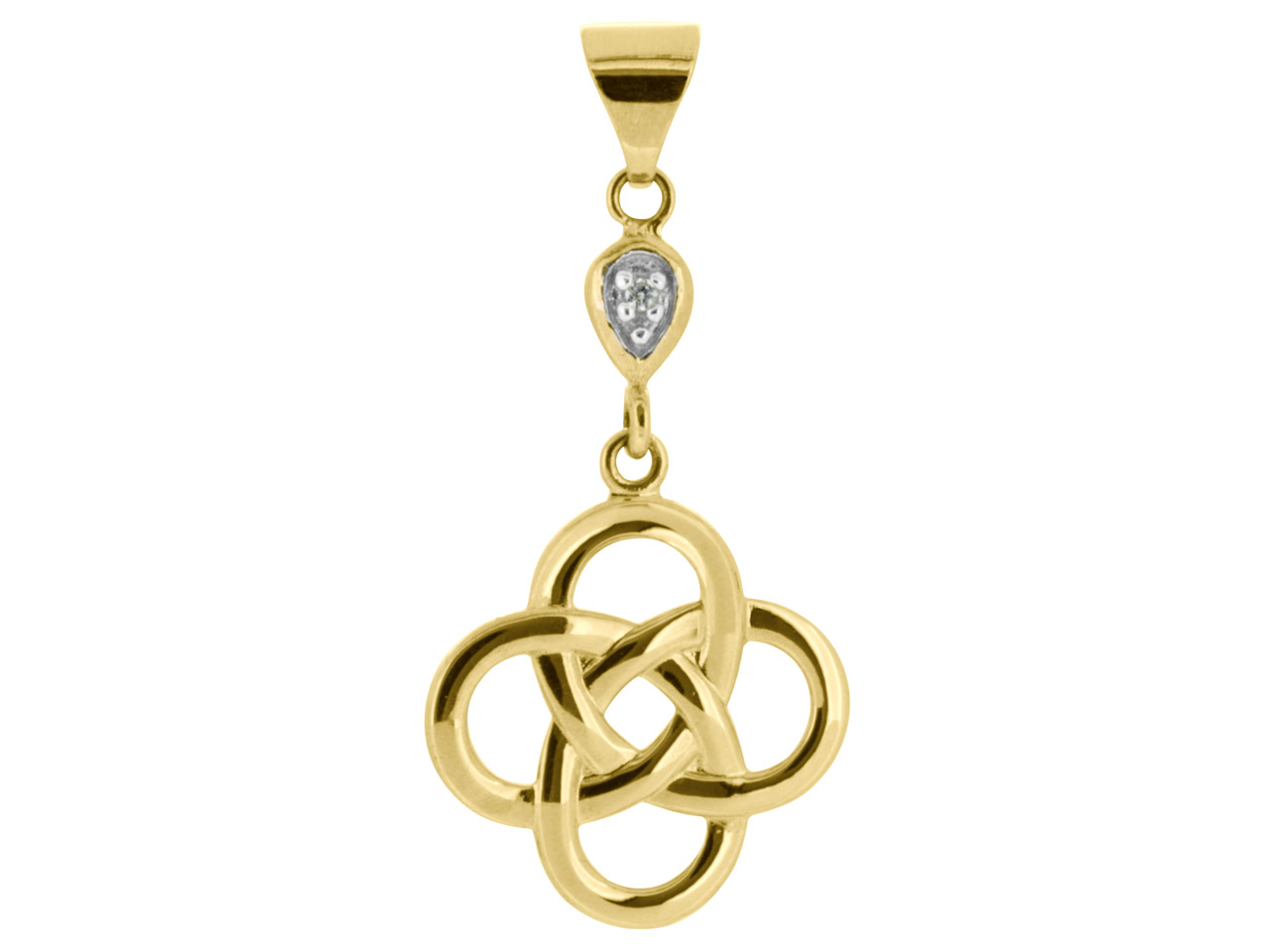 9ct Yellow Celtic Knot Pendant Set With 1 1mm Cubic Zirconia