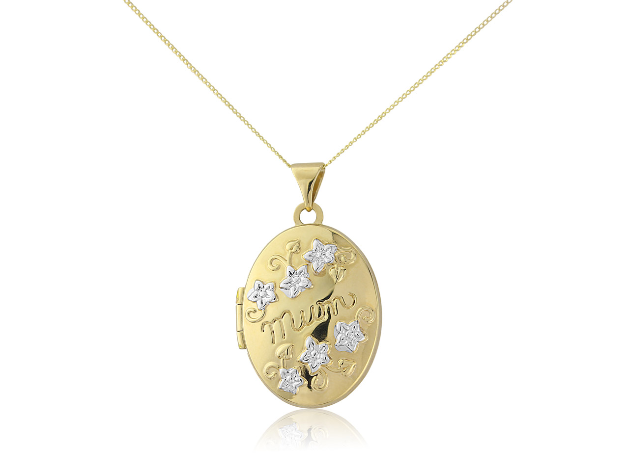 9ct Yellow Mum Embossed Locket With 18