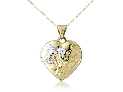 9ct Yellow Gold I Love You Heart   Locket And 1845cm Chain