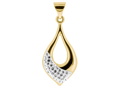9ct Yellow Gold Crystal Drop       Pendant Embossed With 35 White 1mm Crystals