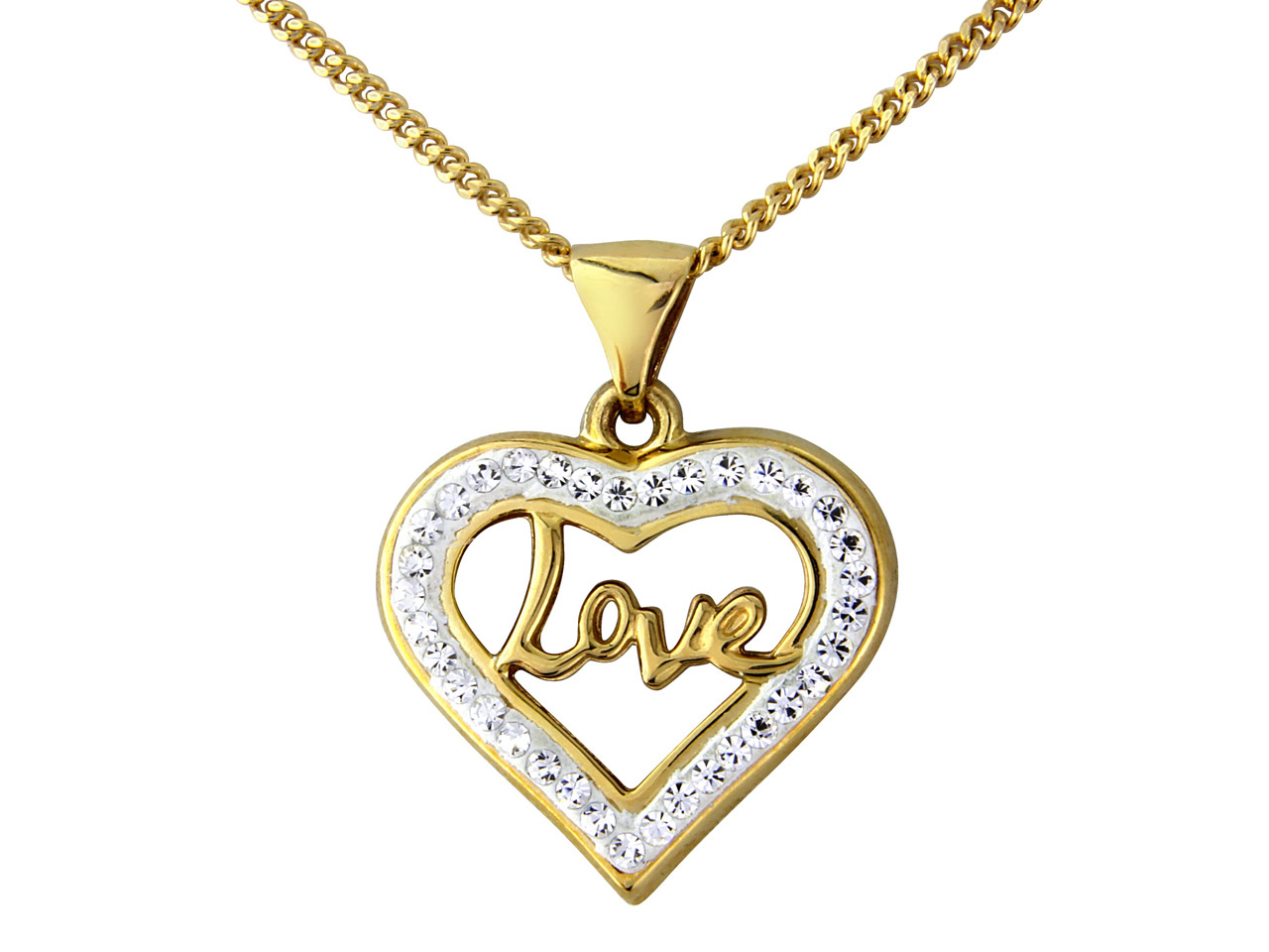 9ct Yellow Crystal Love Pendant    With 18