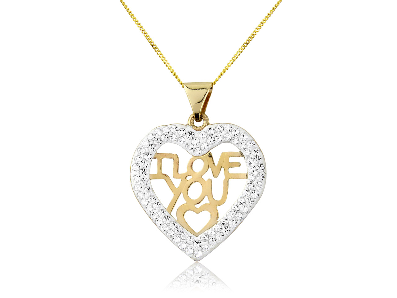 9ct Yellow Crystal I Love You      Pendant With 18