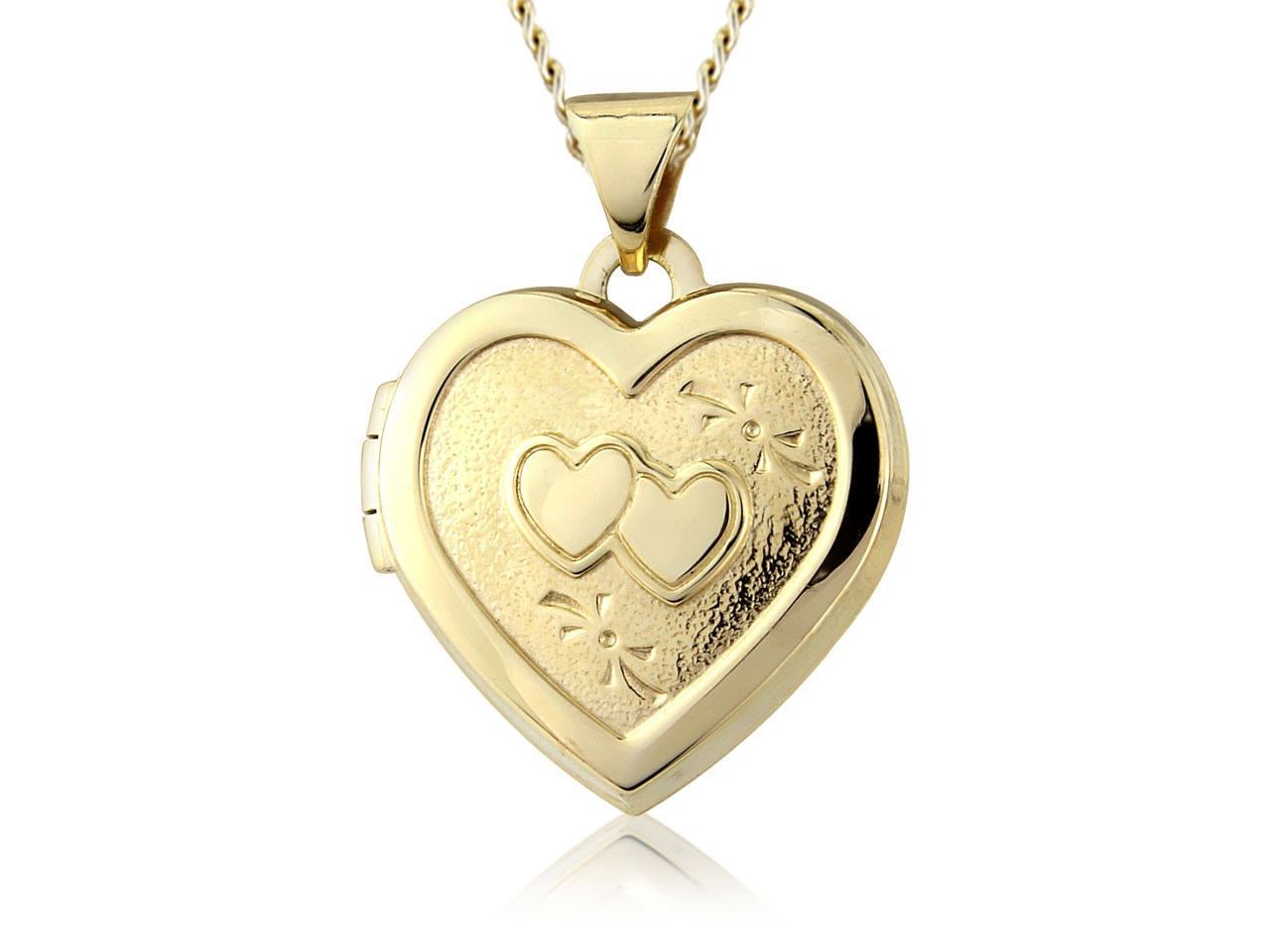 9ct Yellow Double Heart Locket With 18