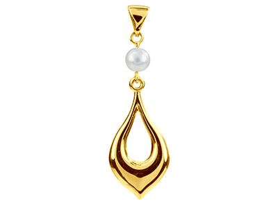9ct Yellow Pearl Set Teardrop      Shaped Pendant