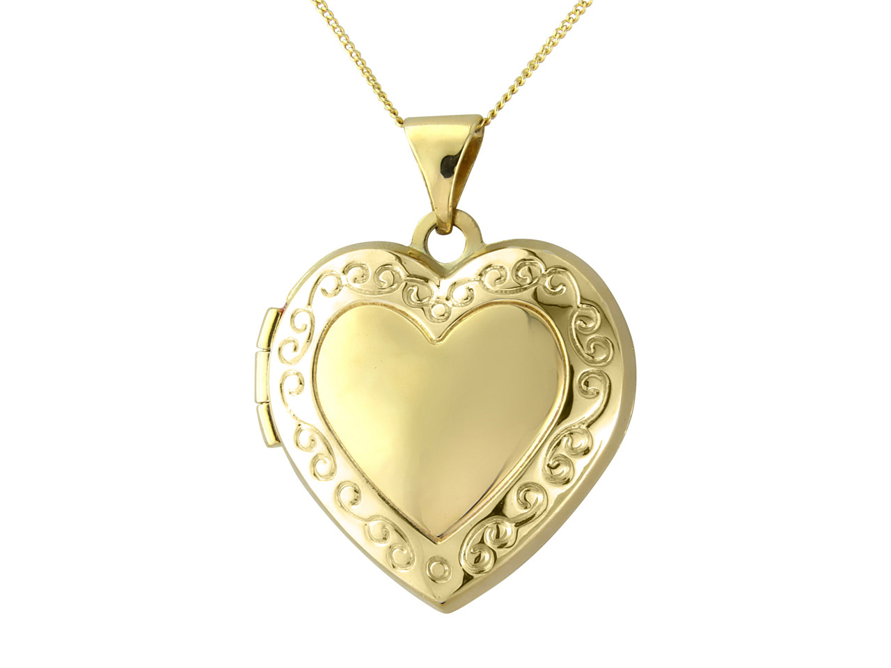 9ct Yellow Embossed Heart Locket   With Chain