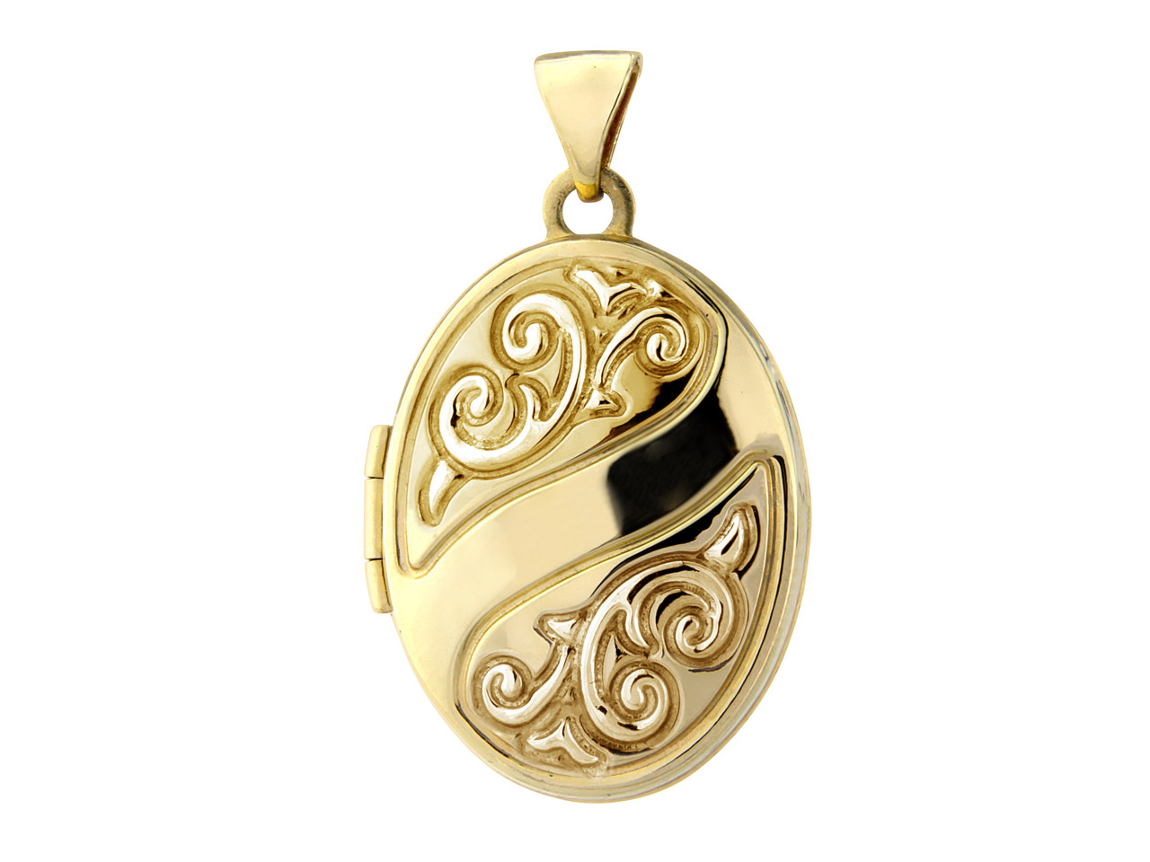 9ct Yellow Oval Embossed Locket    With Chain