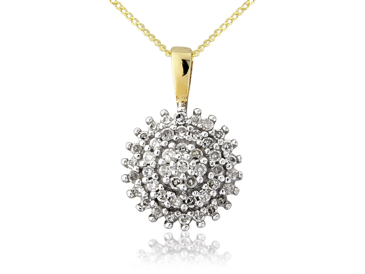 9ct Yellow 0.20pt Diamond Cluster  Pendant And Chain