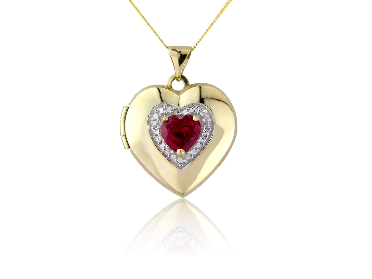 9ct Yellow Heart Locket With       Synthetic Ruby And Cubic Zirconia  With 18