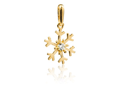 9ct Yellow Gold Snowflake Pendant  Set With Cubic Zirconia