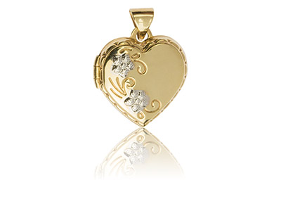 9ct Yellow Gold Heart Locket With  Flower Detail, 15mm