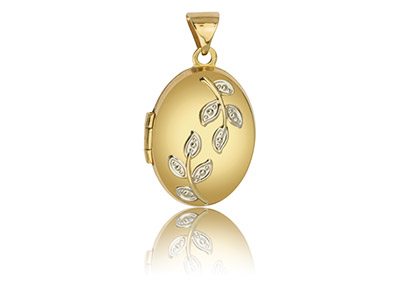 9ct Yellow Gold Oval Locket With   Leaves Detail, 17x13mm