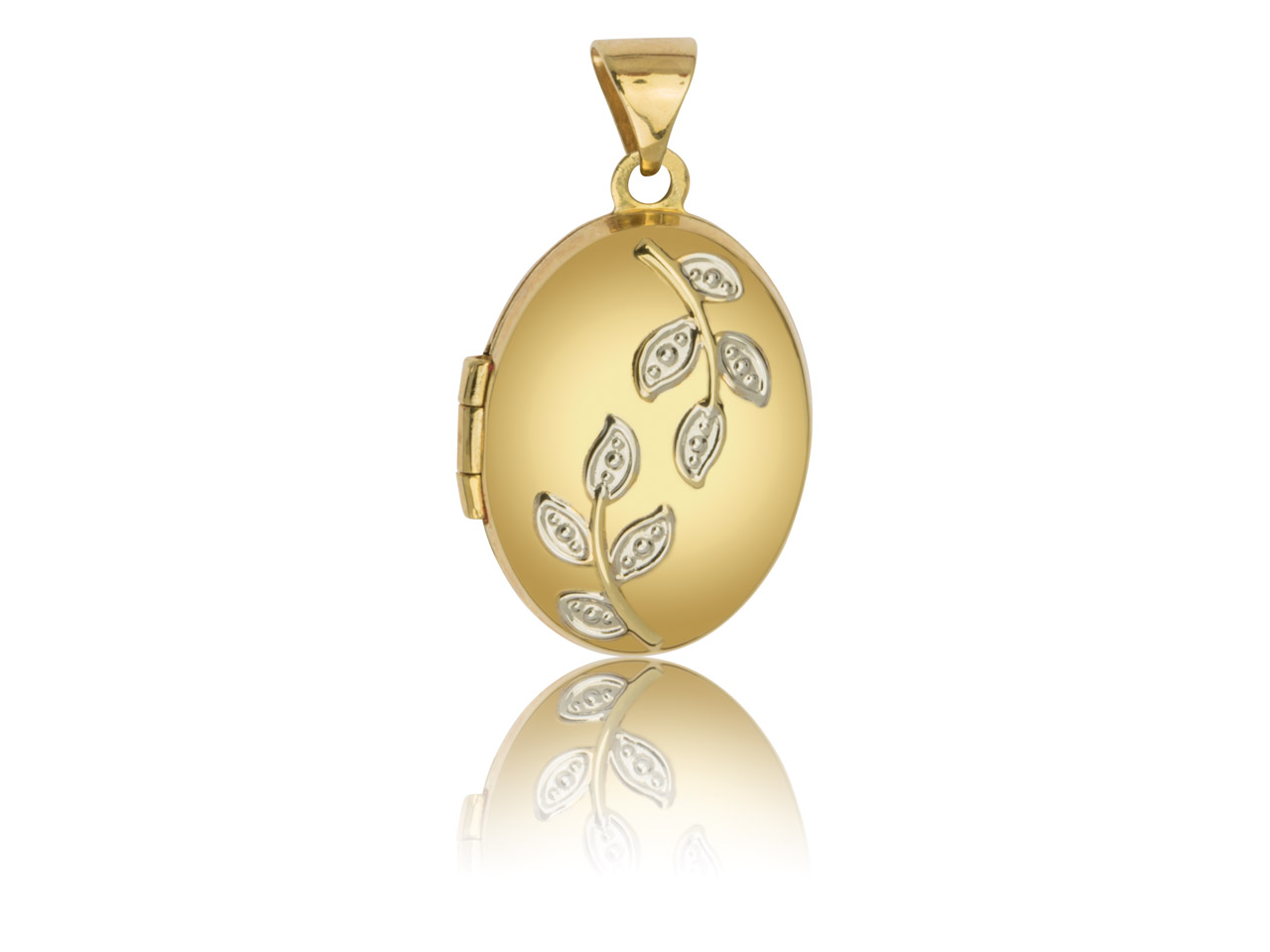 9ct Yellow Oval Locket With Leaves Detail, 17x13mm