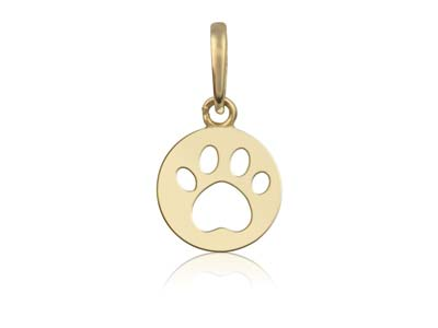 9ct Yellow Gold Paw Print Outline  Pendant