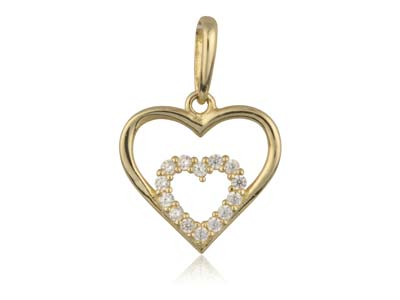 9ct Yellow Gold Double Heart        Outline Pendant With Cubic Zirconia