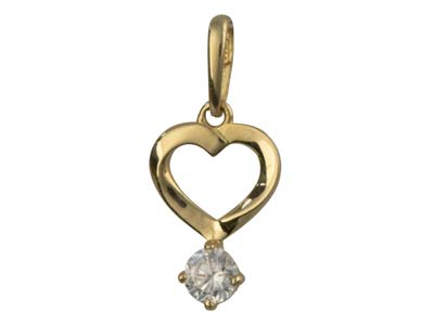 9ct Yellow Gold Heart Outline      Pendant With Cubic Zirconia Drop