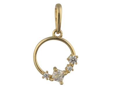 9ct Yellow Gold Circle Outline     Pendant With Cubic Zirconia