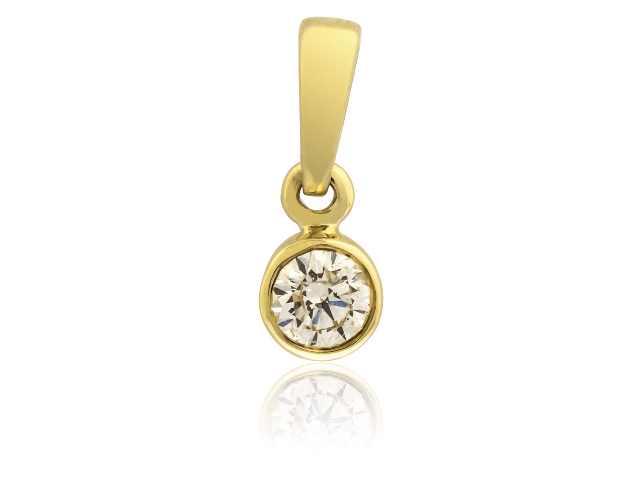 9ct Yellow Diamond Pendant,        0.10cts, Bezel Set
