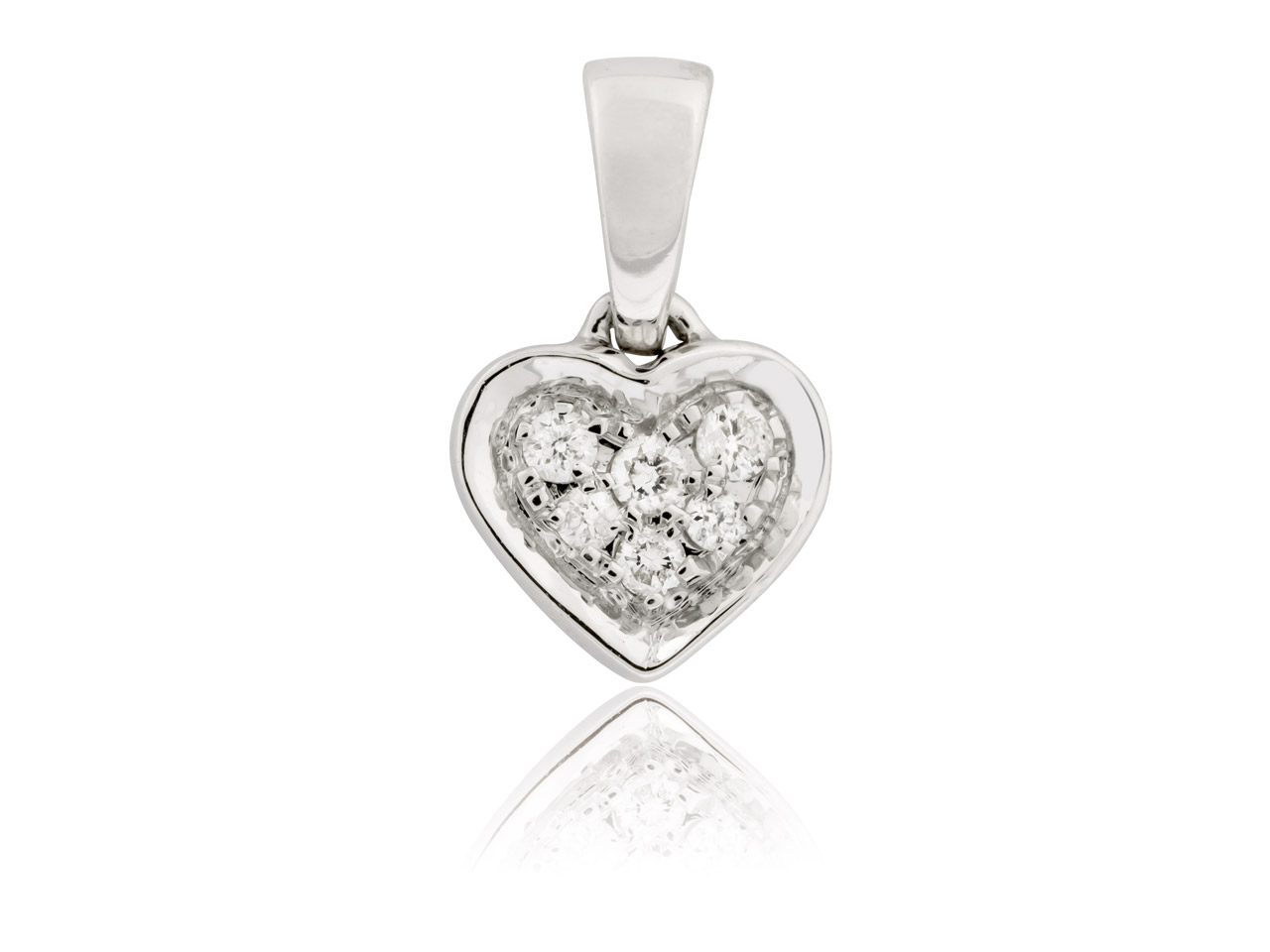 9ct White Heart Pendant With 6 Pave Set Diamonds, 0.05cts