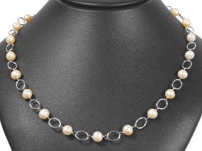Silver Oval Link Chain  White     Pearls80cm