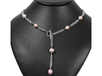 Silver Rose Pearl 3 Row Chain     1845cm