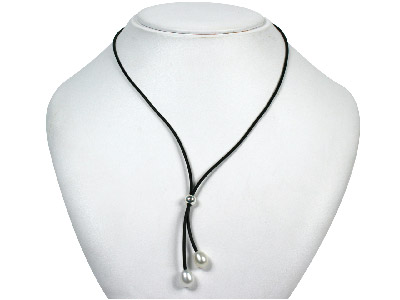 Rubber Lariat 1640cm Necklet With Two White 7mm Pearls