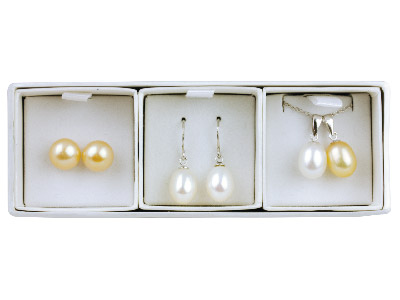 Sterling Silver Freshwater Pearl   Set Button Stud And Teardrop       Earring With Two Pendants
