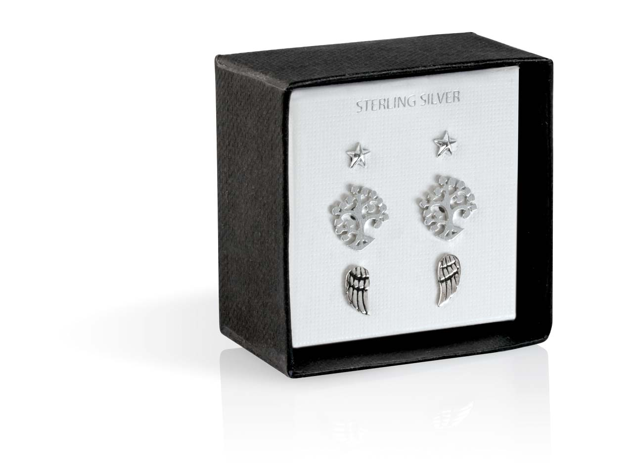 47d9616e8 Sterling Silver Stud Earrings Set, 3 Designs With Gift Box Black ...
