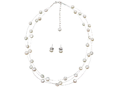 3 Row Illusion Pearl Necklet And Earring Set