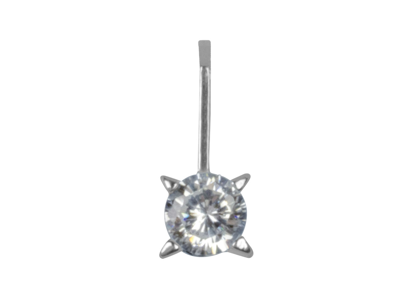 Sterling Silver Pendant Round      Cubic Zirconia
