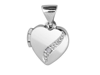 Sterling Silver Locket Heart       Diamond Curve