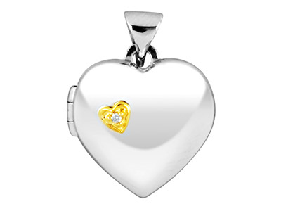 Sterling Silver Heart Locket With Gold Plated Diamond Heart Feature