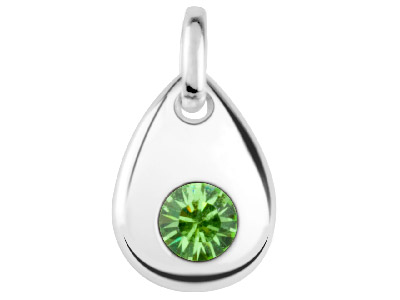 Sterling Silver Pendant August     Birthstone 4mm Peridot Crystal